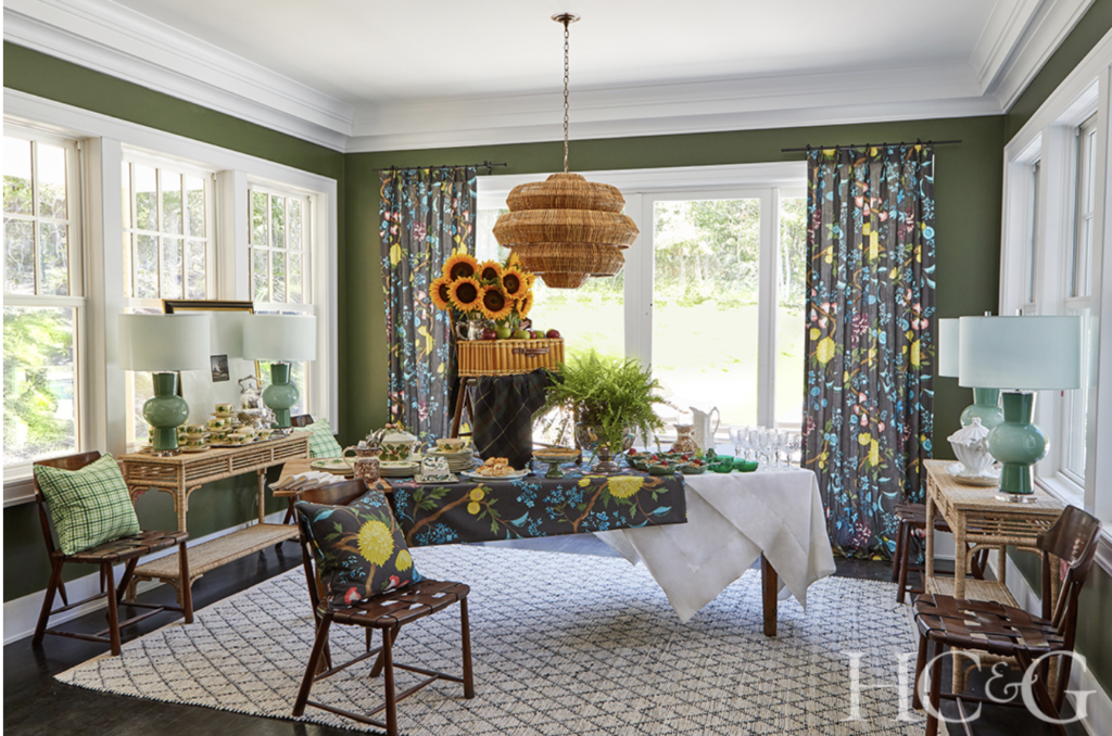 The breakfast room designed by Scot Meacham Wood at the 2020 Hamptons Designer Showhouse. Photograph by Anastassios Mentis. Image courtesy HC&G.