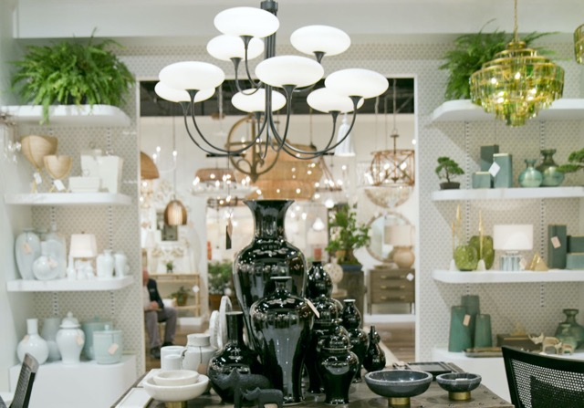 The Imperial Black porcelain vases in the High Point showroom during their debut.
