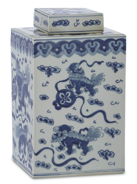 The Ming Small Lidded Jar made of blue and white porcelain by Currey & Company.