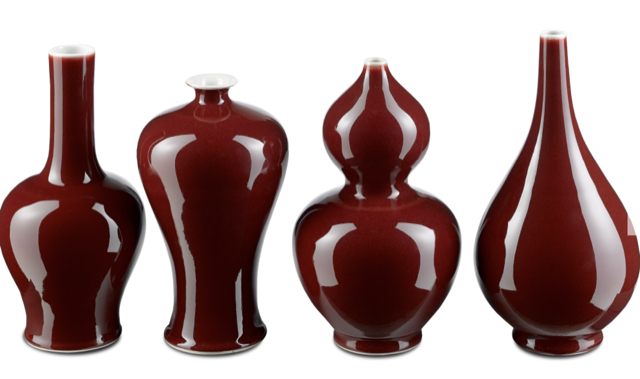 The Oxblood Vase Set by Currey & Company.