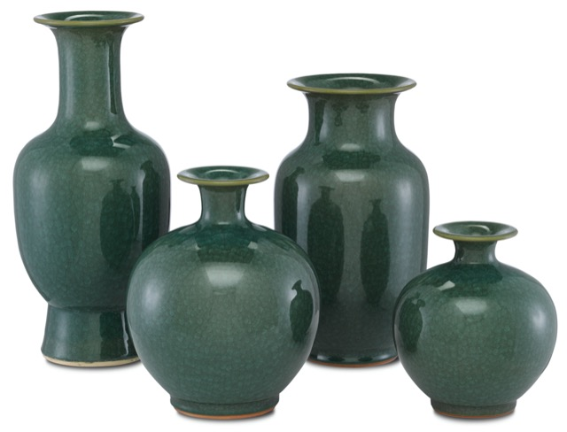 Kara Crystalized Green Vases by Currey & Company, made of porcelain.