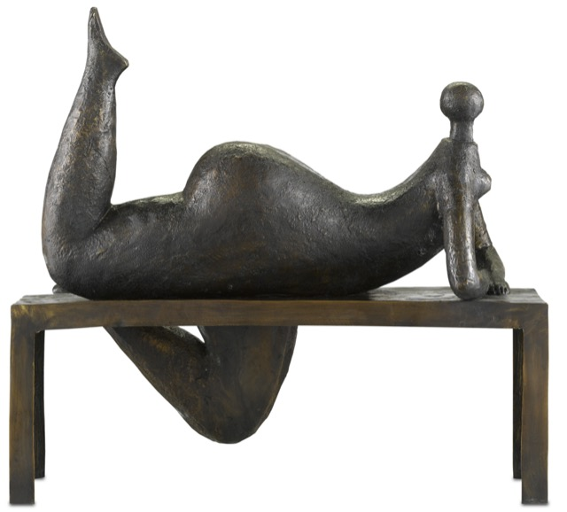 The Currey & Company Odalisque Bronze, created with the lost wax process.