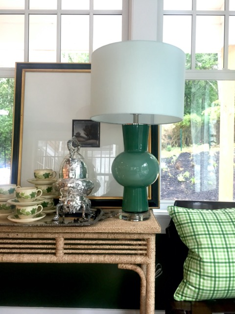 Our Duende Green Table Lamp shining bright in Scot's space in the Hamptons. Image courtesy SMW Home.
