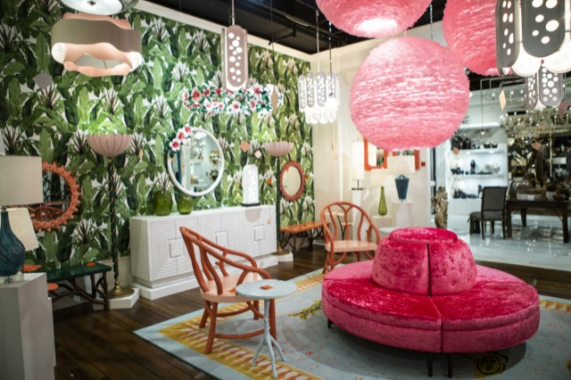 The space in the Currey & Company High Point showroom dedicated to the Sasha Bikoff Collection.