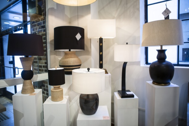 The Shipshape Table Lamp, far left, is one of Currey & Company's rope-wrapped lamps debuting during Market.