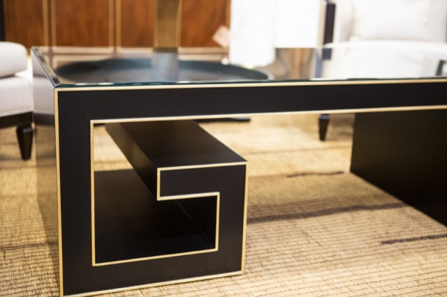 The gold leaf stringing around the edges of the Artemis Cocktail Table illustrate Barry Goralnick's attention to detail.