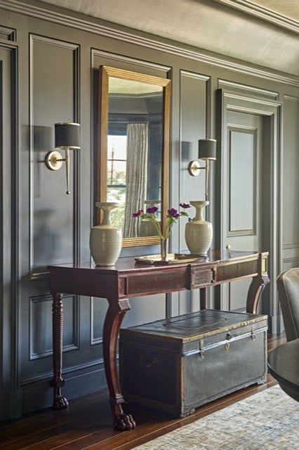 Our Primo Black Nickel Wall Sconce in one of Matthew Patrick Smyth's projects, the balance illustrating the beauty he achieves.