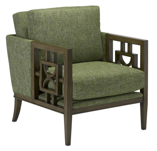 The Currey & Company Royce Chair with a mid-century modern vibe.