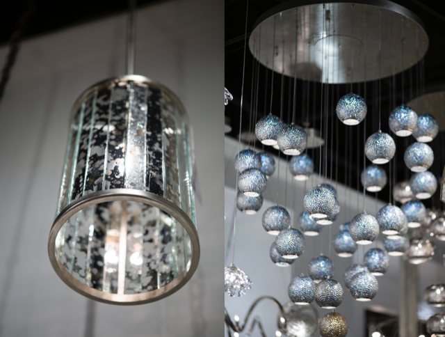 The Currey & Company Riddle Pendant and a shot of the Giro Multi-Drop Pendant that illustrates light reflecting through the blue beads.