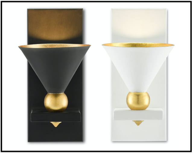 The Currey & Company Moderne Wall Sconces inspired by vintage movie theater sconces.