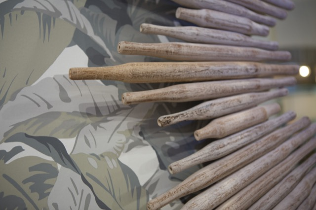 A detail shot of our Chadee Mirror illustrates how the rolling pins look close in.