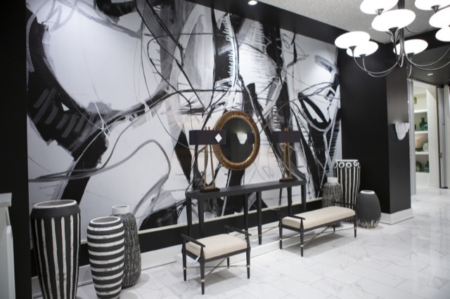 The black and white modern trend in our High Point Market showroom.