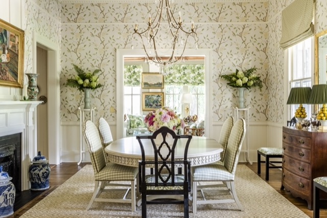 A dining room in Stately Oaks, a home in South Carolina, designed by James and his team, and illuminated by our Elizabeth Gold Chandelier. Photo credit Jeff Herr.