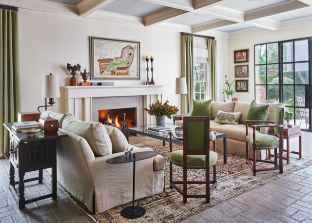 Rich greens bring a vibrancy to this living room by Lucas Eilers. Photo credit: Stephen Karlisch.