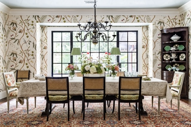 A dining room in a home in the metro Atlanta area designed by James and his team. Photo credit Jeff Herr.