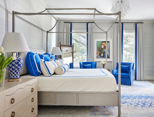 The blues in this bedroom, included in Expressive Interiors, pop. Photo credit: Stephen Karlisch.