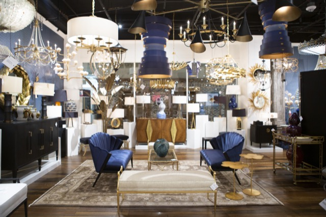 An abundance of blue in our High Point Showroom. Image credit Beth Tilley Green.
