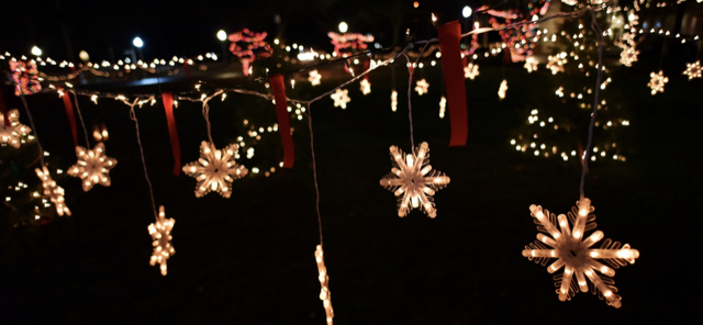 Holiday decorations from the Kingston Snowflake Festival in years past.