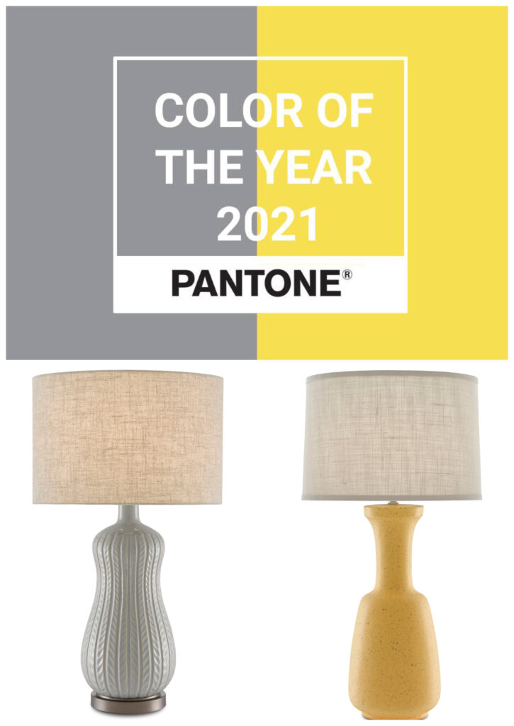 Two of our lamps that mimic the Pantone Colors of the Year