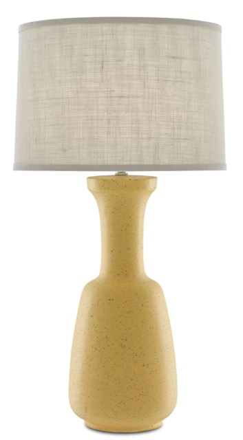 The Currey & Company Flaxen Table Lamp in a sunny yellow
