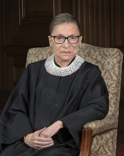 Ruth Bader Ginsburg's official portrait for the Supreme Court. Image public domain.