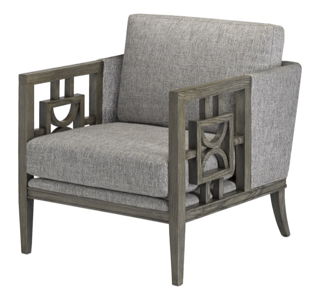 The Royce Silver Gray Chair is among Currey & Company's new winter products