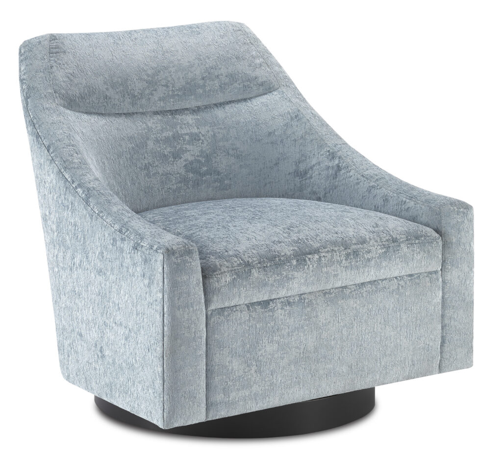 Pryce Cerulean Swivel Chair by Currey & Company