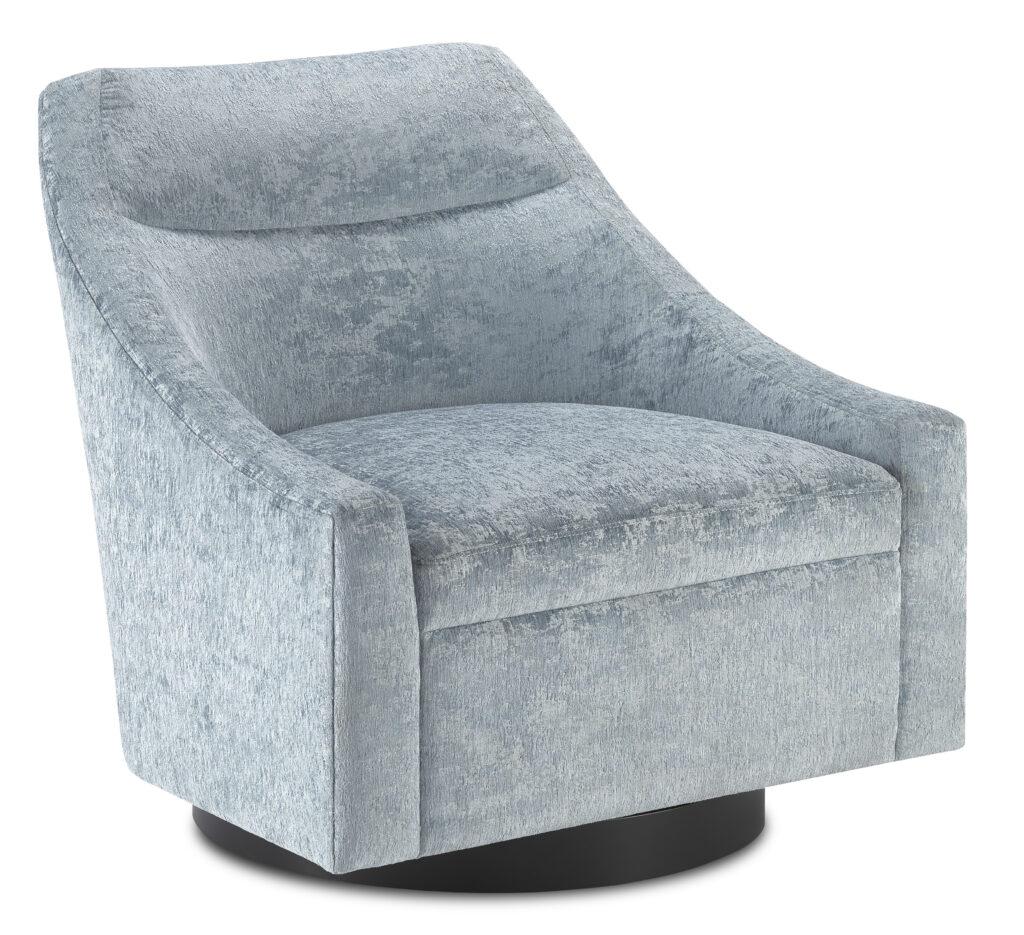 Pryce Cerulean Swivel Chair by Currey & Company