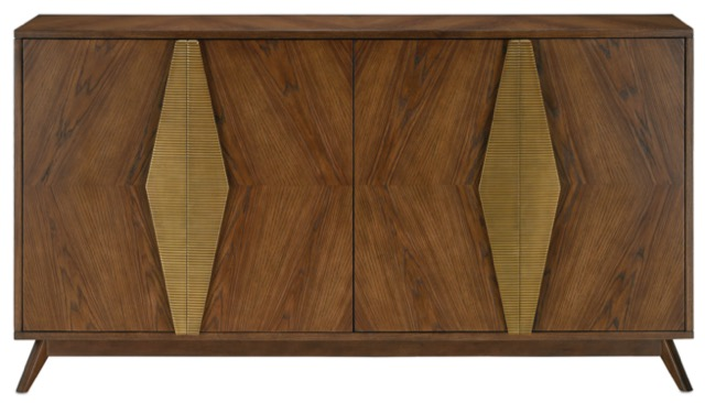 The Currey & Company Arren Credenza, one of many cabinets in its furniture offerings, this one with a mid-century modern appeal.