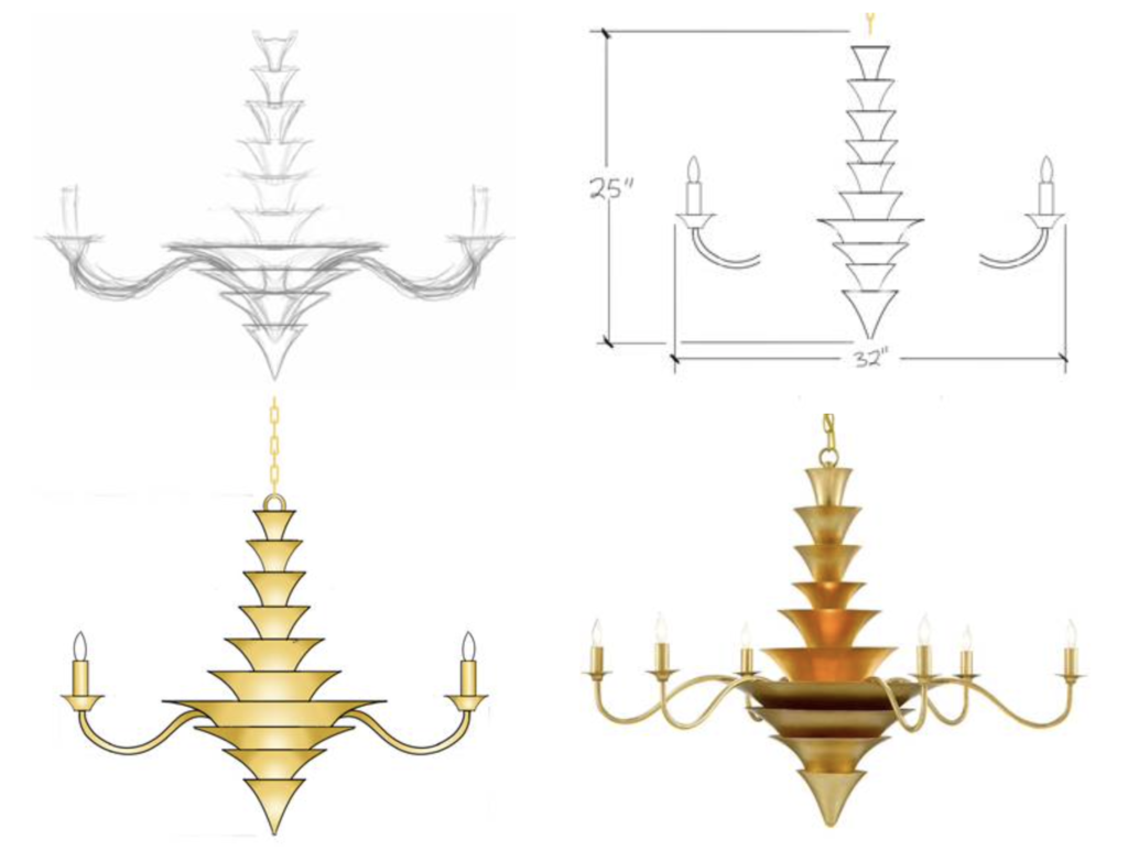 Ian Thornton illustrates his process for the Sillage Chandelier for our Designer Roundtable.