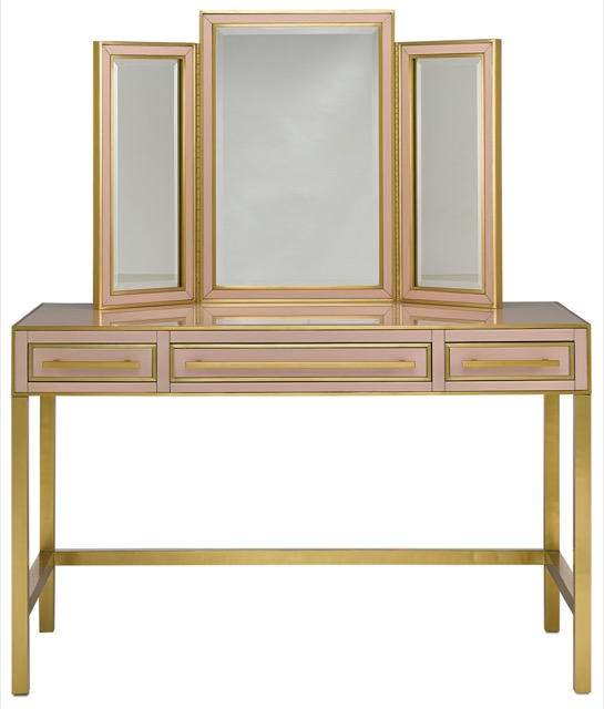 The Arden Pink Vanity is one of Currey & Company's most popular products. Sitting atop is a pink vanity mirror.