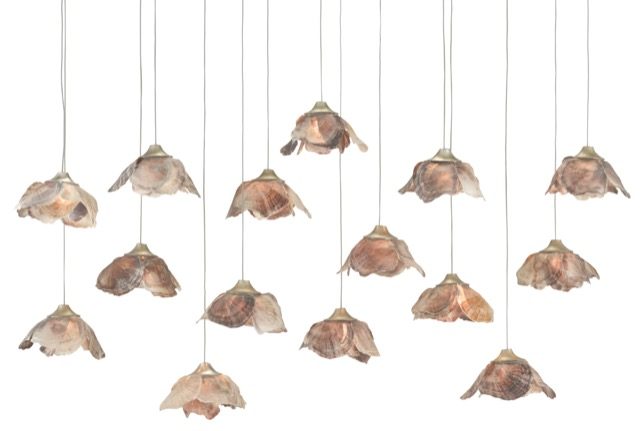 The Currey & Company Catrice Rectangular 15-Light Multi-Drop Pendant has shades made of pink shells.