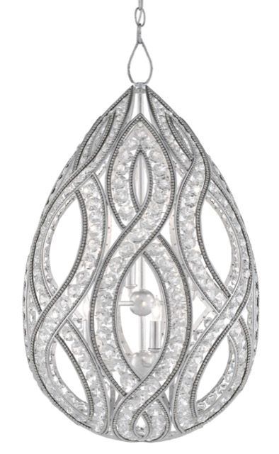 The Galliard Chandelier by Currey & Company is a sumptuous symbol of glamour.