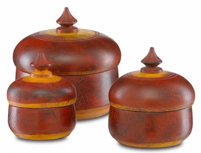 The Currey & Company Jaisalmer Box Set includes three vintage tobacco boxes.