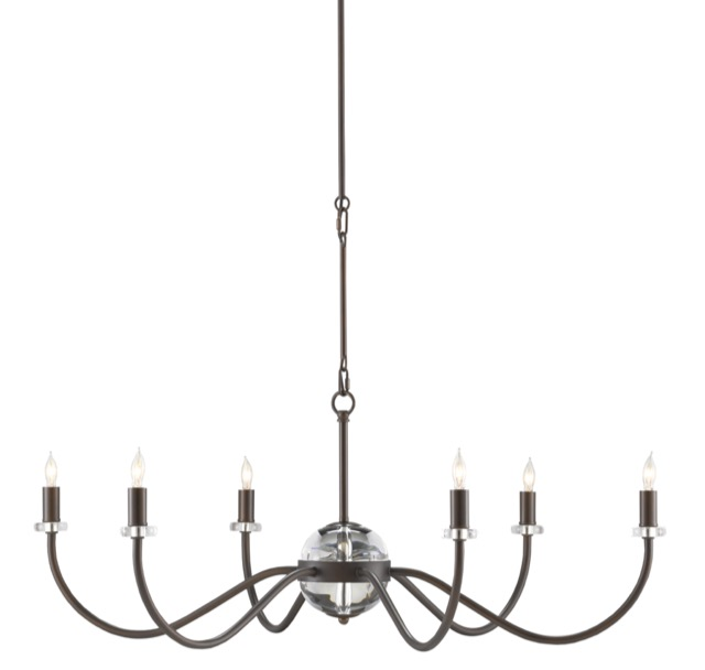 The Currey & Company Salerio Chandelier is a brown chandelier with optic crystal accents.