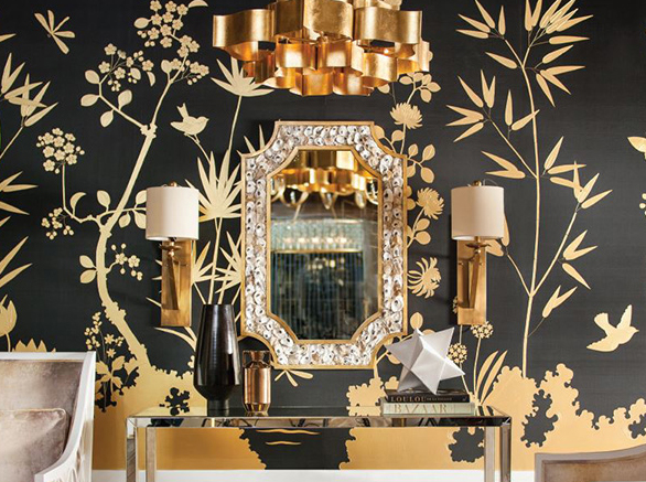 The Margate Mirror by Currey & Company is a decorative mirror with hand-applied shells along the frame.