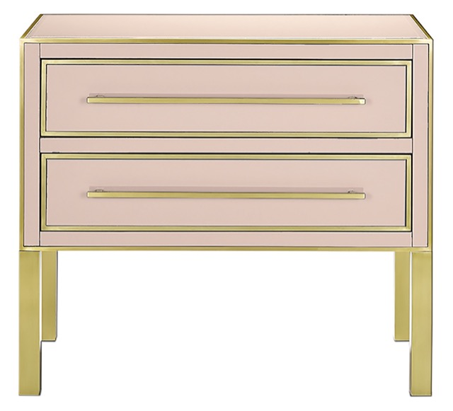 The Currey & Company Arden Pink Chest is a pink chest made of reverse-painted glass.