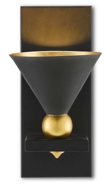 The Moderne Black Wall Sconce by Currey & Company is a gold and black wall sconce that is art deco-inspired.