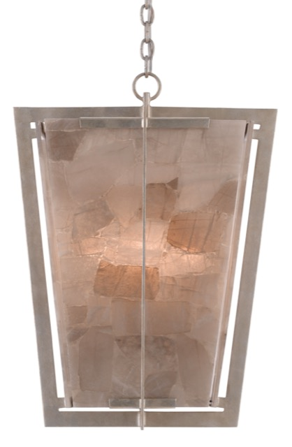 Currey & Company's Berenson Lantern is a pink chandelier with panes of smoky quartz panels.