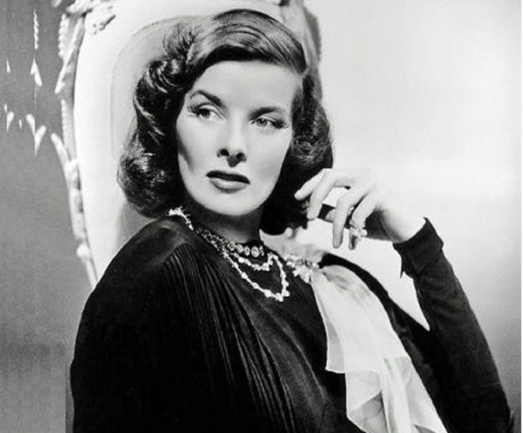 Katherine Hepburn's brand of glamour was a tailored one. Image in public domain.
