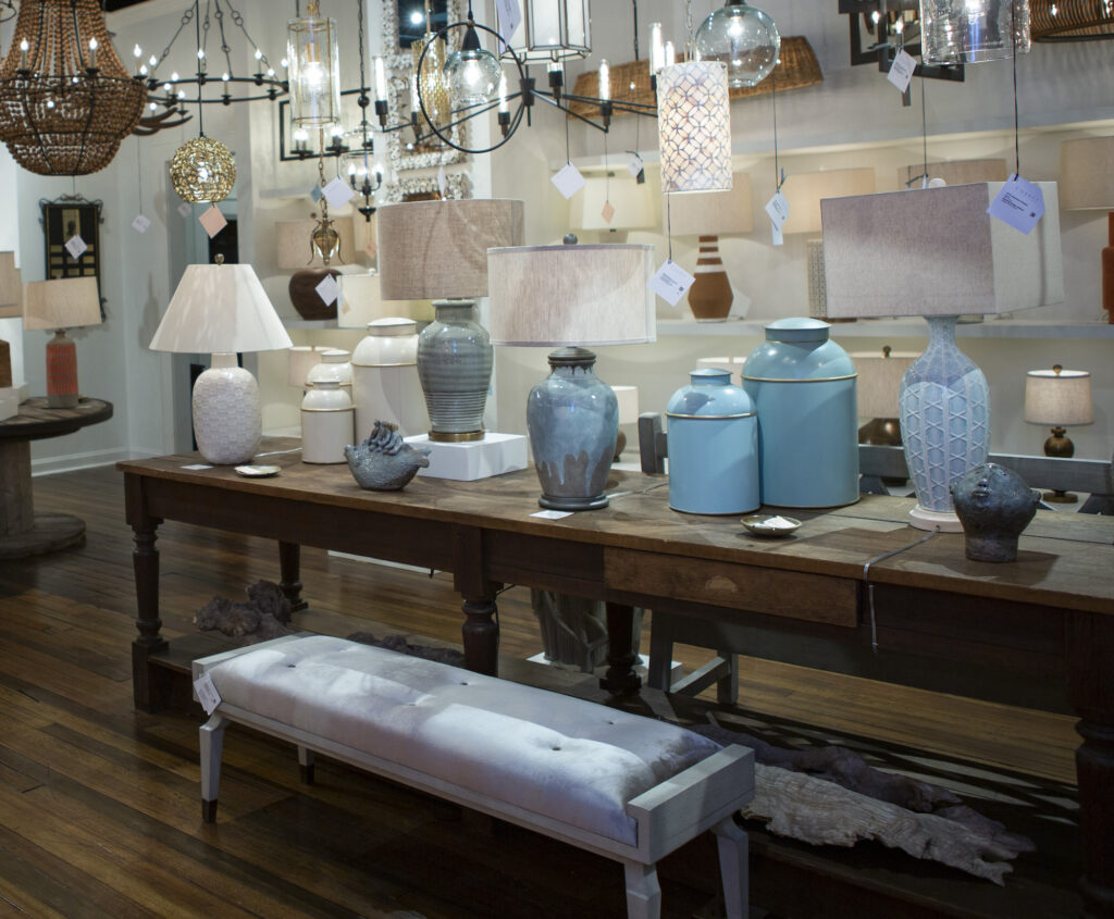 Two of our blue London Tea Boxes in blue in our High Point Showroom.