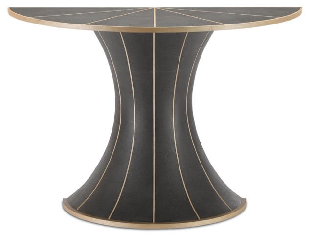 The Castille Demi-Lune, in the Currey & Company Denise McGaha Collection, is among our dark and dreamy furnishings.