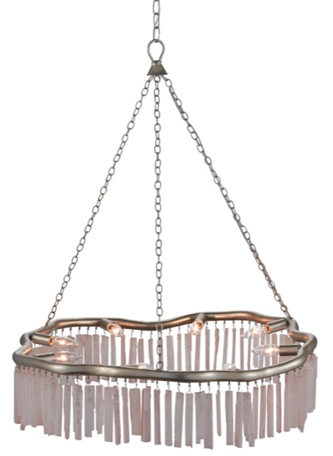 Currey & Company's Longuette Chandelier is dripping with bars of natural pink selenite.