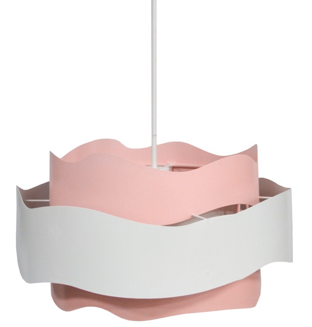 The Miami Beach Chandelier, designed by Sasha Bikoff for Currey & Company, has a wavy pink and white profile.