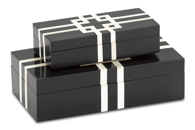 Currey & Company's Black and White Lines Boxes are made of composite overlaid on mango wood.
