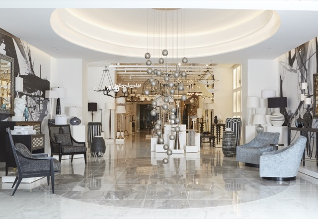 The entry of the new Currey & Company Atlanta furniture showroom.