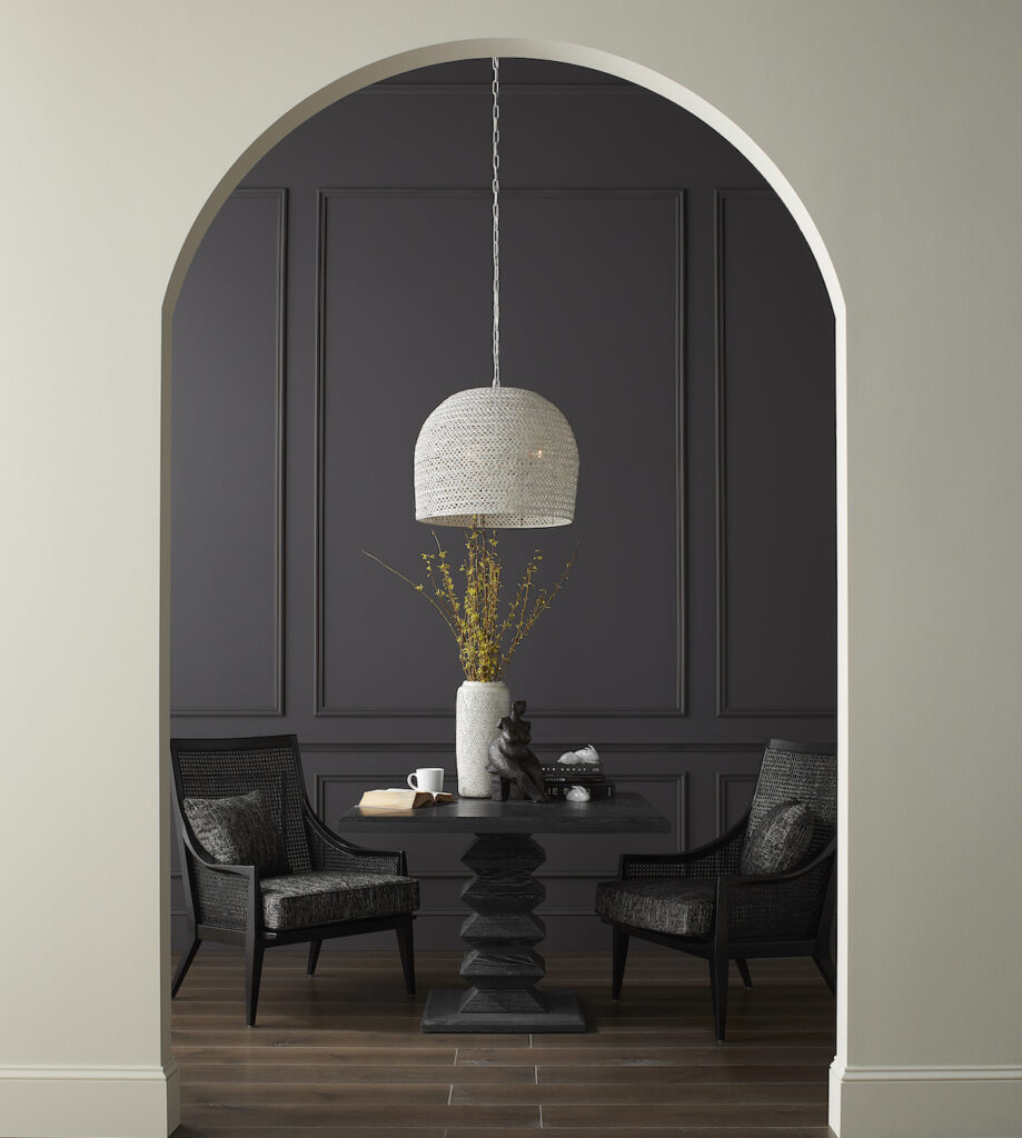 Front and center in this vignette is the Currey & Company Piero Chandelier