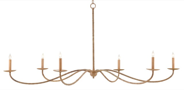 The Currey & Company Saxon Rattan Chandelier