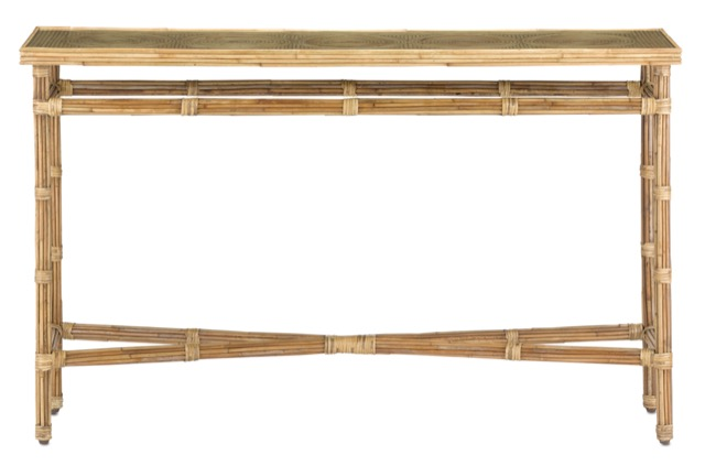 The Silang Console Table by Currey & Company is made of a mix of natural materials