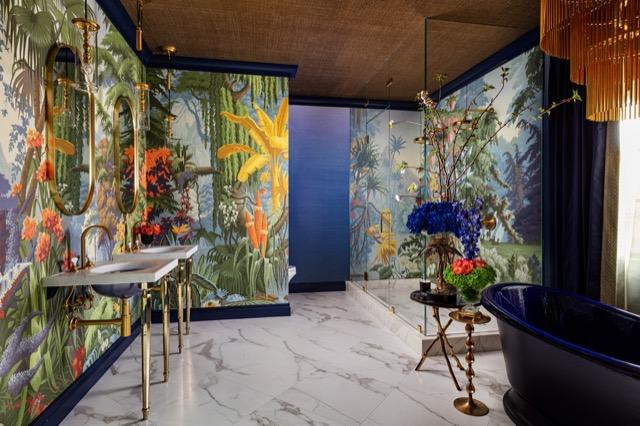 The bathroom by Naranjo has powerful moody hues. Photo credit: Nickolas Sargent.